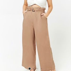 Plus size belted Paper Bag Pants